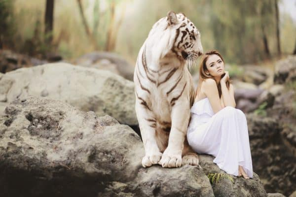 Woman and a Tiger